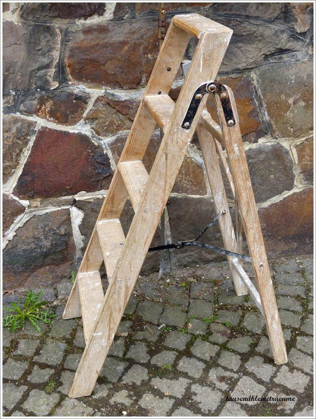 kleine leiter holzleiter tritt haushaltsleiter rankhilfe g561 ebay. Black Bedroom Furniture Sets. Home Design Ideas