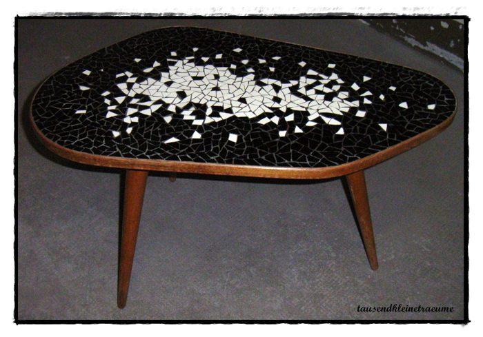 nierentisch retro style ddr design beistelltisch 50er 60er jahre vintage mosaik ebay. Black Bedroom Furniture Sets. Home Design Ideas