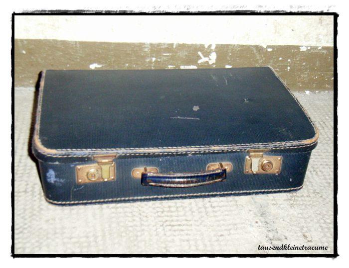 alter kleiner koffer lederkoffer kanten reisekoffer kinderkoffer f421 ebay. Black Bedroom Furniture Sets. Home Design Ideas