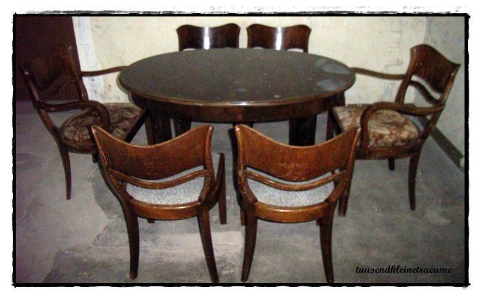 art deco 20er jahre ausziehtisch 6 st hle esstisch tisch armlehnstuhl ebay. Black Bedroom Furniture Sets. Home Design Ideas