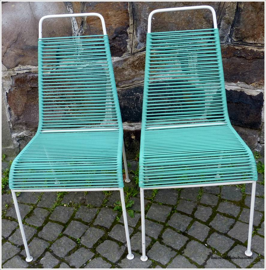 2 st ck gartenstuhl k chenstuhl stuhl seilbespannung ddr for Stuhl design 60er
