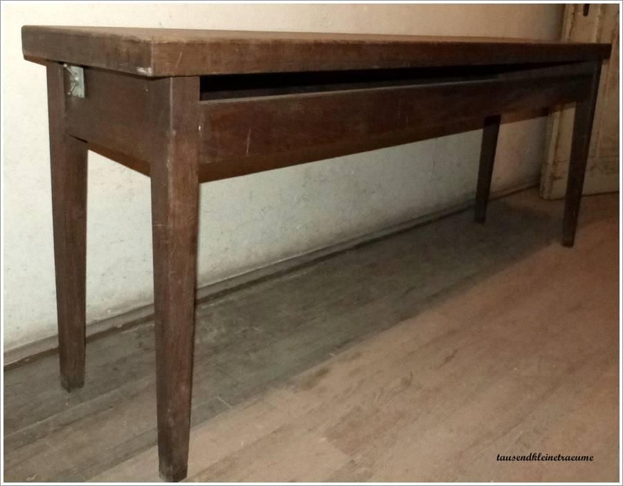 langer schmaler tisch arbeitstisch k chentisch indutsrietisch massiv eiche holz ebay. Black Bedroom Furniture Sets. Home Design Ideas
