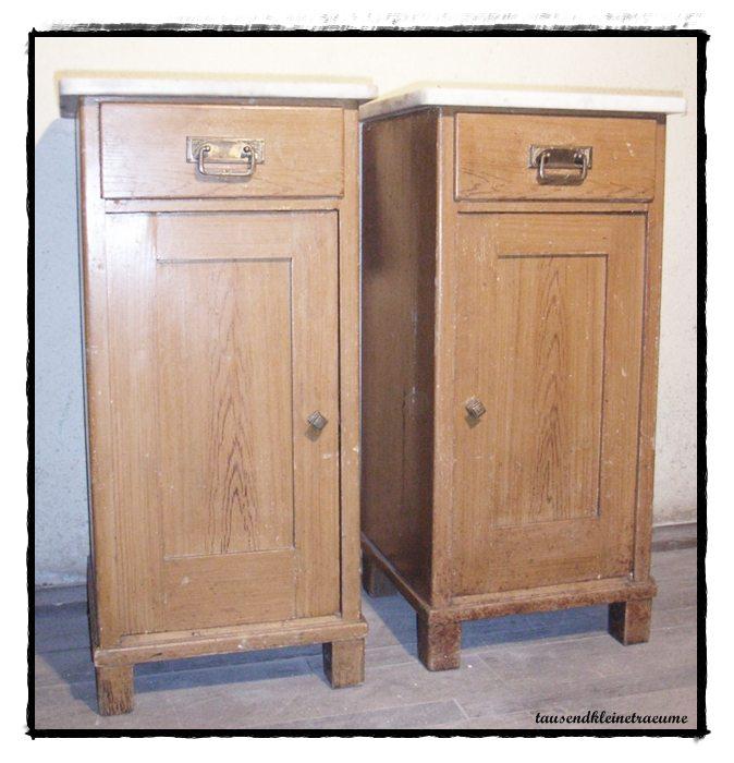 jugendstil 2 nachtschr nkchen weichholz nachtschrank mit marmorplatte d544 ebay. Black Bedroom Furniture Sets. Home Design Ideas