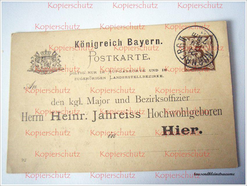 alte postkarte königreich bayern 1893 nürnberg einladung kaiser, Einladungsentwurf