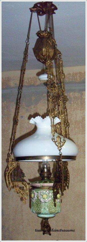 jugendstil lampe deckenlampe glasschirm petroleumlampe aus majolika keramik ebay. Black Bedroom Furniture Sets. Home Design Ideas