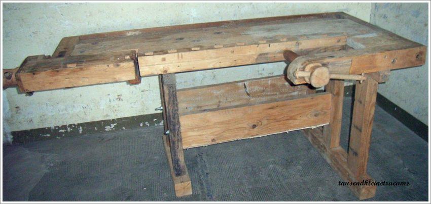 alte rustikale werkbank arbeitstisch schreiner hobelbank weichholz g49 ebay. Black Bedroom Furniture Sets. Home Design Ideas