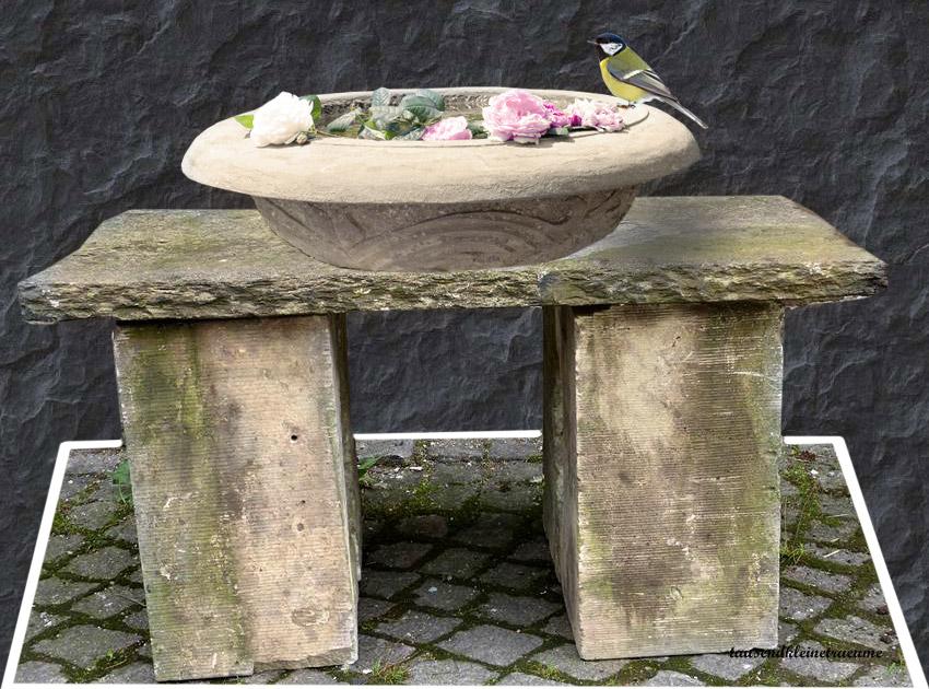 alter steintisch naturstein steinbank aus porphyr mit. Black Bedroom Furniture Sets. Home Design Ideas