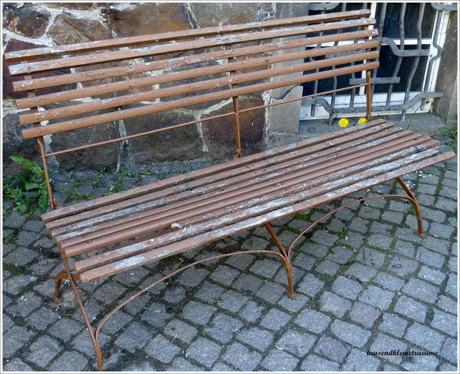 große Jugendstil Gartenbank Eisen Metallgestell Klappbank Bank ...