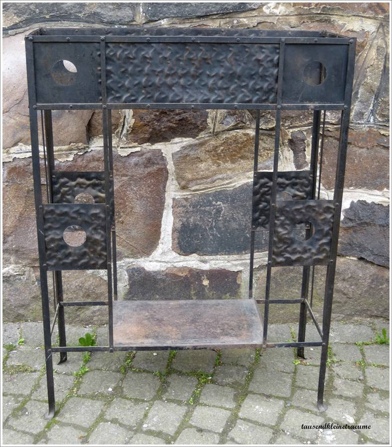 sehr sch ne eiserne jugendstil blumenbank aus metall raumteiler blumenst nder ebay. Black Bedroom Furniture Sets. Home Design Ideas