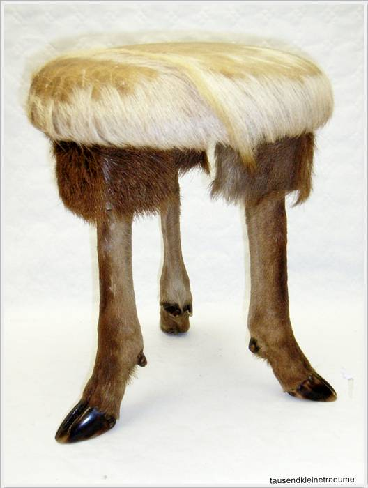 rehfuss hocker mit fell sitzhocker mit reh fellbezug ebay. Black Bedroom Furniture Sets. Home Design Ideas