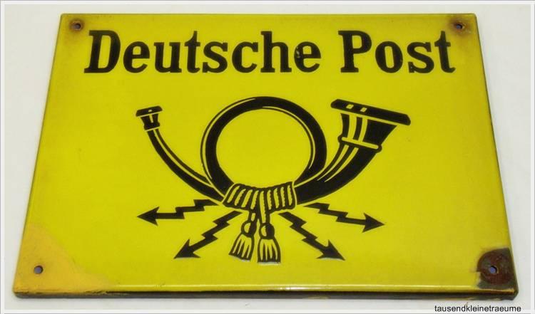 emaileschild deutsche post hinweistafel mit posthorn 30er bis 50er jahre ebay. Black Bedroom Furniture Sets. Home Design Ideas