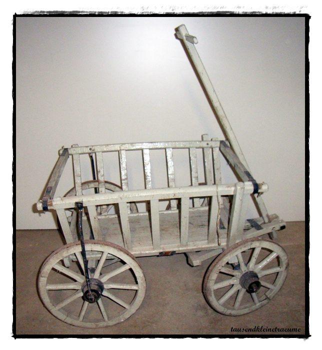 alter gro er wei er handwagen bollerwagen gartendeko. Black Bedroom Furniture Sets. Home Design Ideas