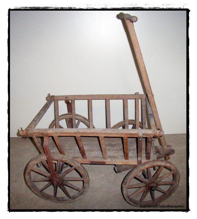 alter gro er naturholz handwagen bollerwagen gartendeko. Black Bedroom Furniture Sets. Home Design Ideas