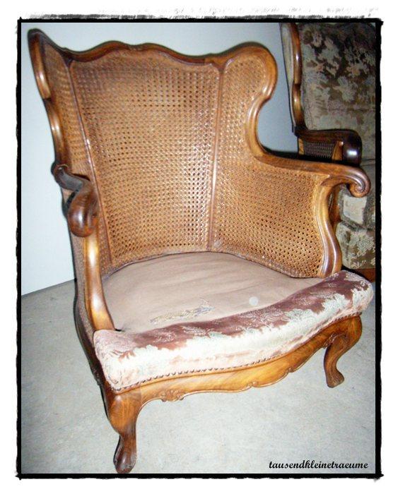 alte ohrensessel jugendstil chippendale sessel mit polstersitze und korbgeflecht ebay. Black Bedroom Furniture Sets. Home Design Ideas