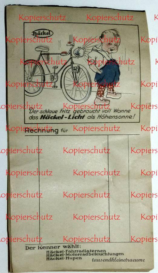 h ckel chemnitz rechnungsblock reklame fahrradlampen rechnung ebay. Black Bedroom Furniture Sets. Home Design Ideas