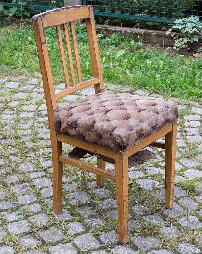 alter holz stuhl k chenstuhl polster sitzfl che vintage chabby chic um 1920 ebay. Black Bedroom Furniture Sets. Home Design Ideas