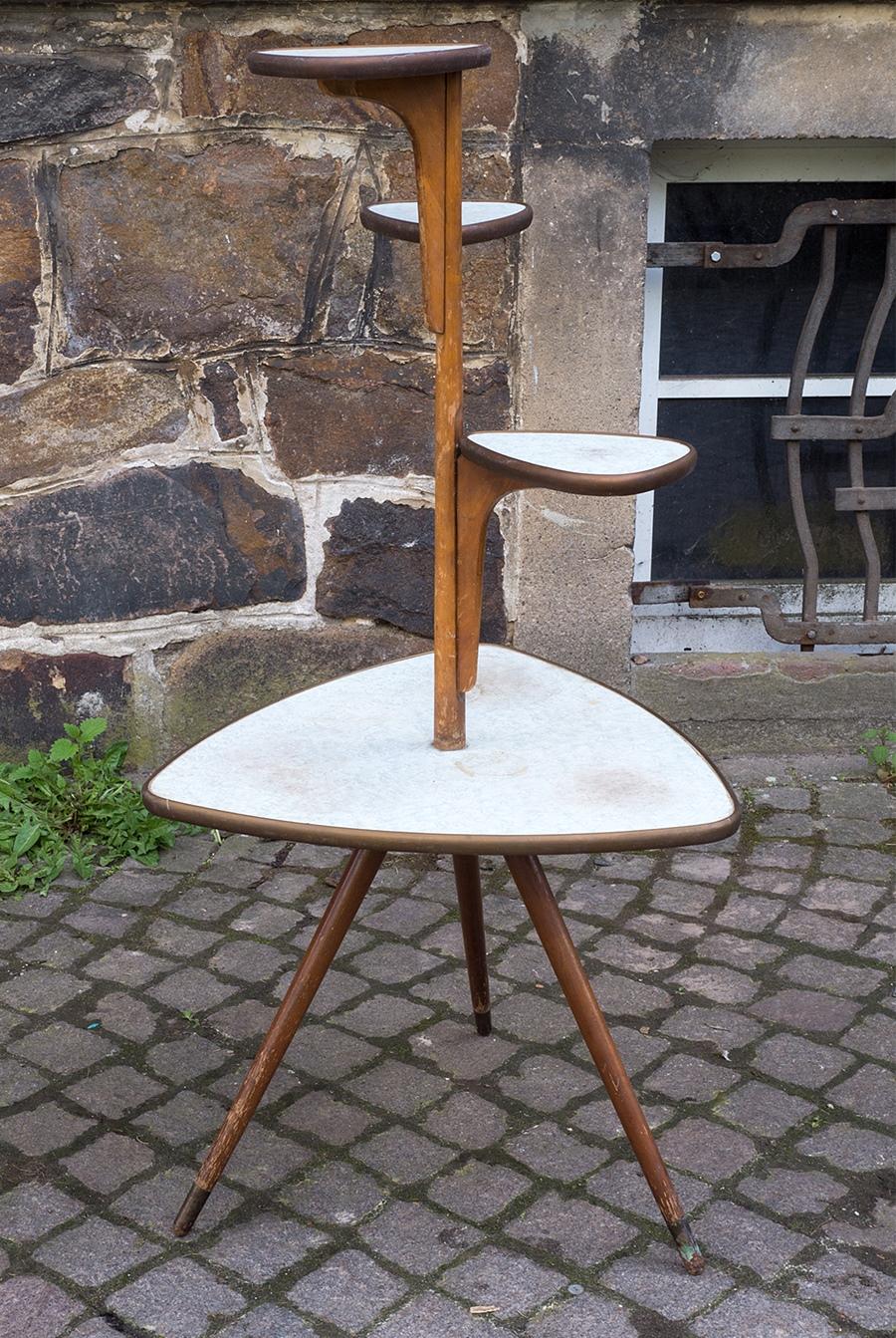blumenbank tisch orig vintage design wohnzimmertisch der 50er 60er jahre ebay. Black Bedroom Furniture Sets. Home Design Ideas