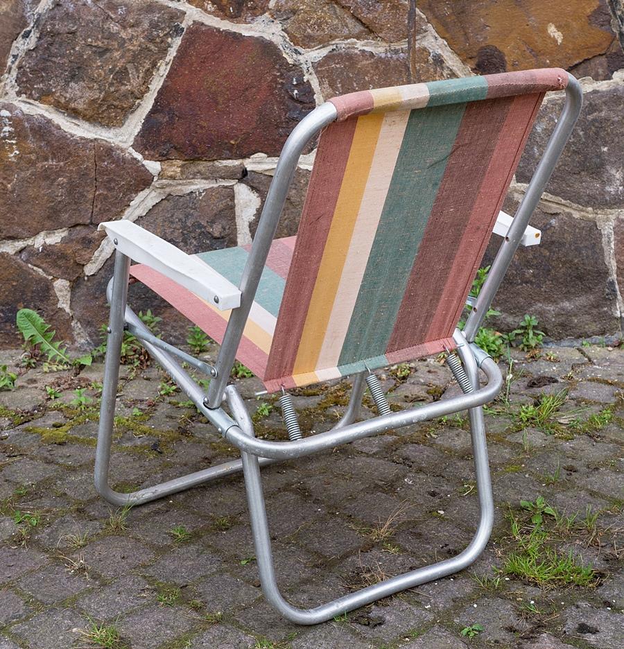 2 st ddr gartenstuhl alu campingstuhl klappstuhl vintage for Garten 70er jahre