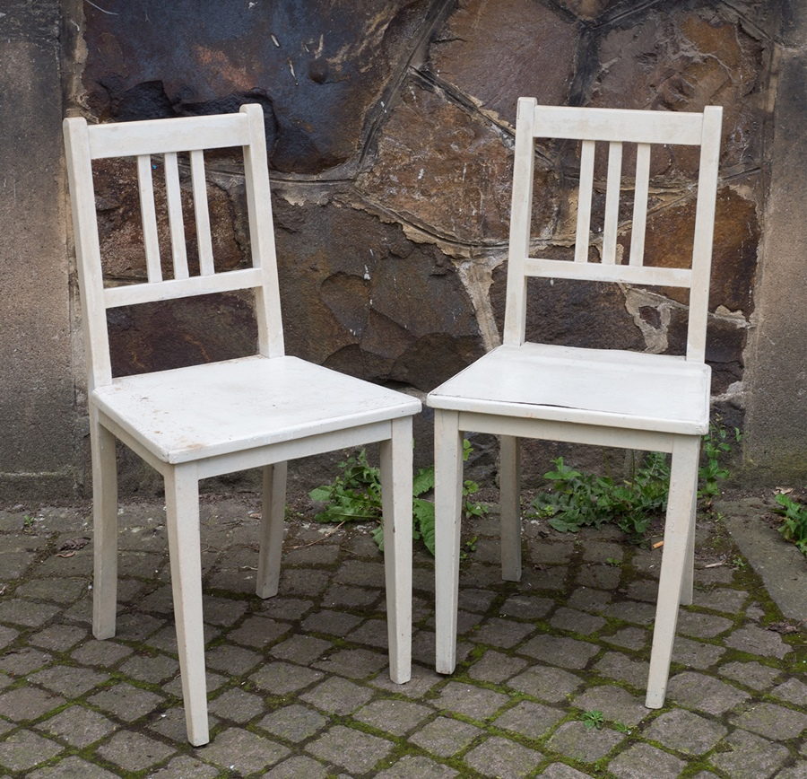 art deco stuhl wei e k chenst hle aus holz vintage shabby chic ca 20er jahre ebay. Black Bedroom Furniture Sets. Home Design Ideas