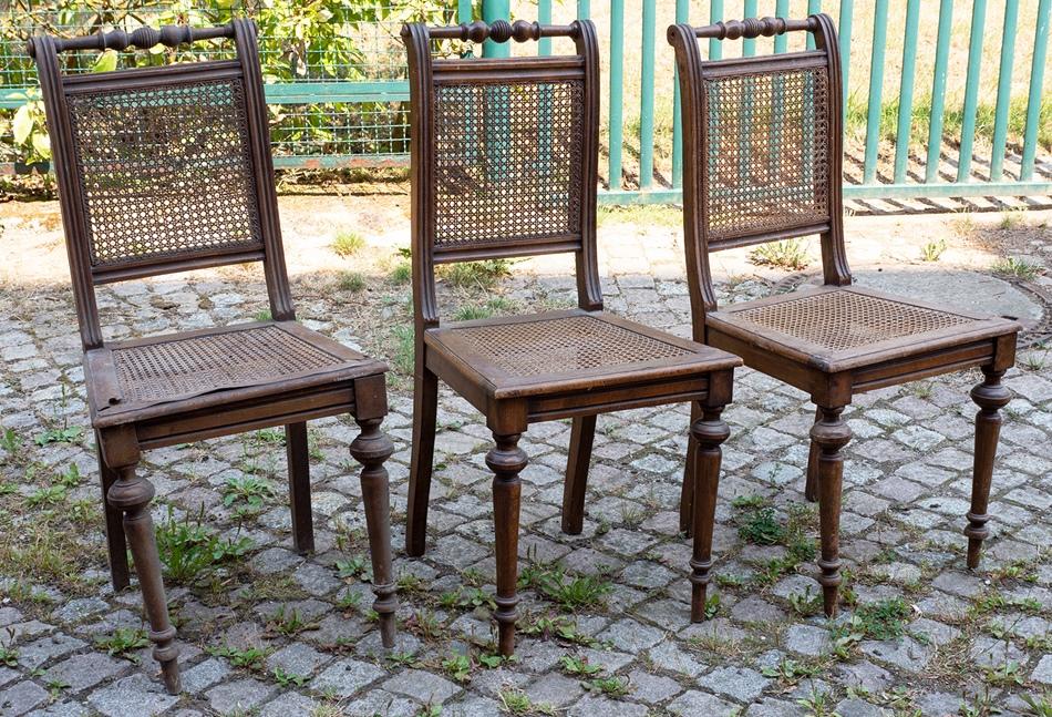 3 alte gr nderzeit st hle aus nussbaum holz m korbgeflecht orig m bel um 1880 ebay. Black Bedroom Furniture Sets. Home Design Ideas